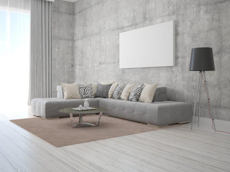 嘲笑有一个时兴的沙发的海报时髦的客厅 库存例证