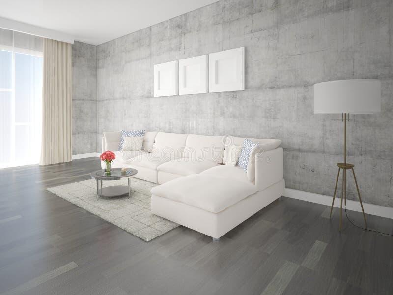 嘲笑有一个明亮的大沙发的原始的客厅 向量例证