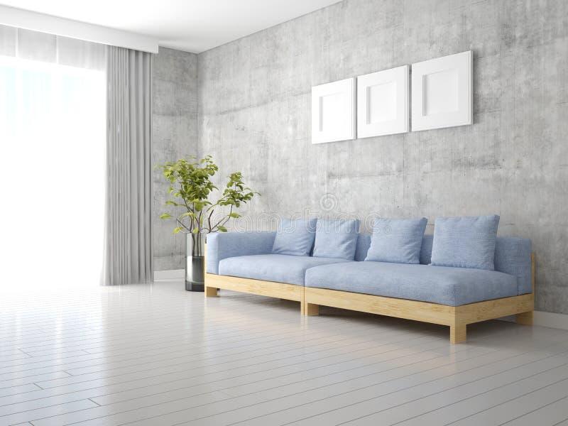 嘲笑有一个沙发的明亮的客厅在一个现代样式 库存例证