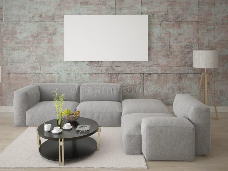 嘲笑有一个舒适的壁角沙发的一个宽敞客厅 库存例证