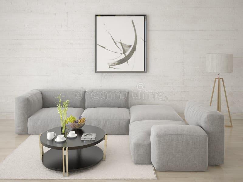 嘲笑有一个舒适的壁角沙发的客厅 库存例证
