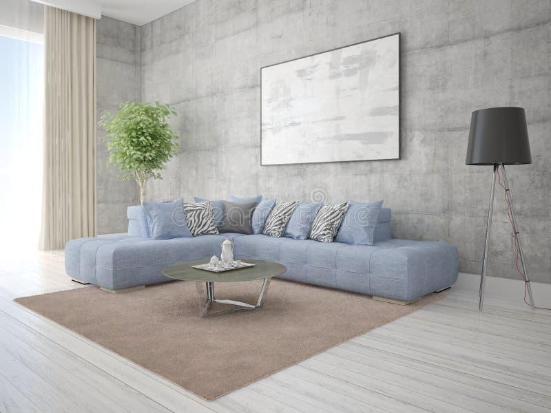嘲笑有一个舒适的壁角沙发的客厅 向量例证