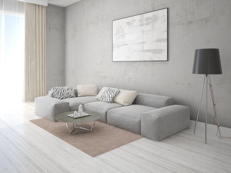 嘲笑有一个舒适的壁角沙发的现代客厅 皇族释放例证