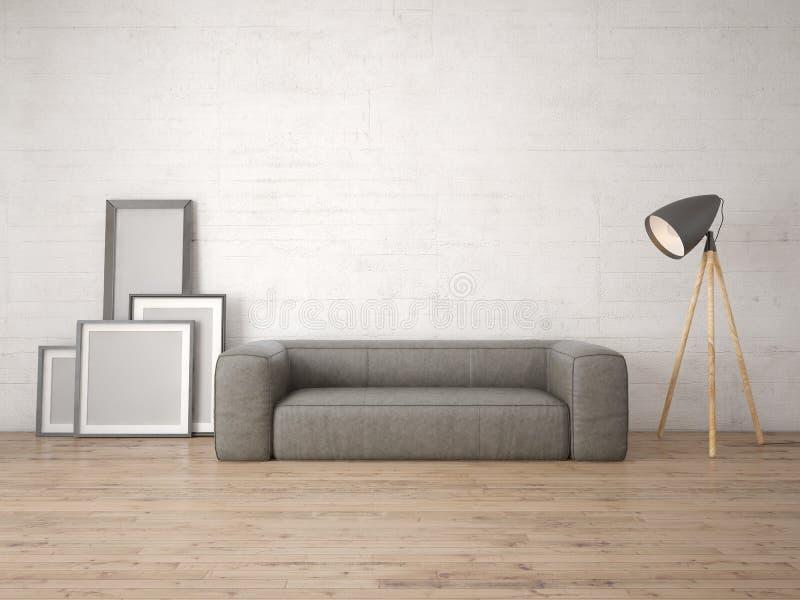 嘲笑有一个舒适的软的沙发的一个现代客厅 皇族释放例证