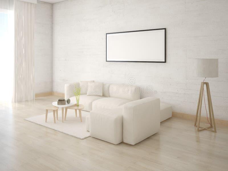 嘲笑有一个轻的沙发的一个舒适的客厅 向量例证