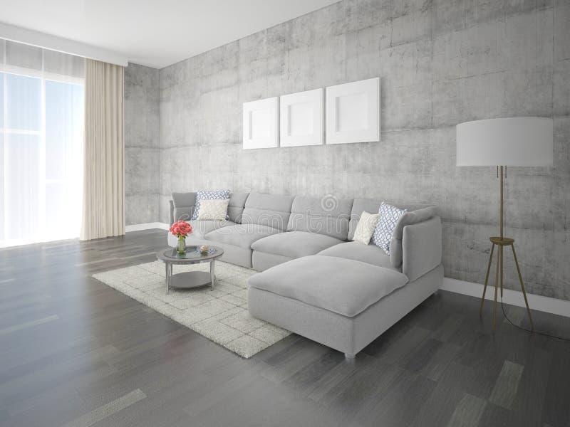 嘲笑有原始的壁角沙发的时髦的休息室 库存例证