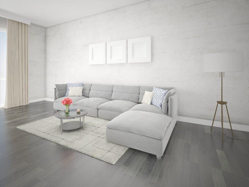 嘲笑有原始的壁角沙发的时髦的休息室 向量例证