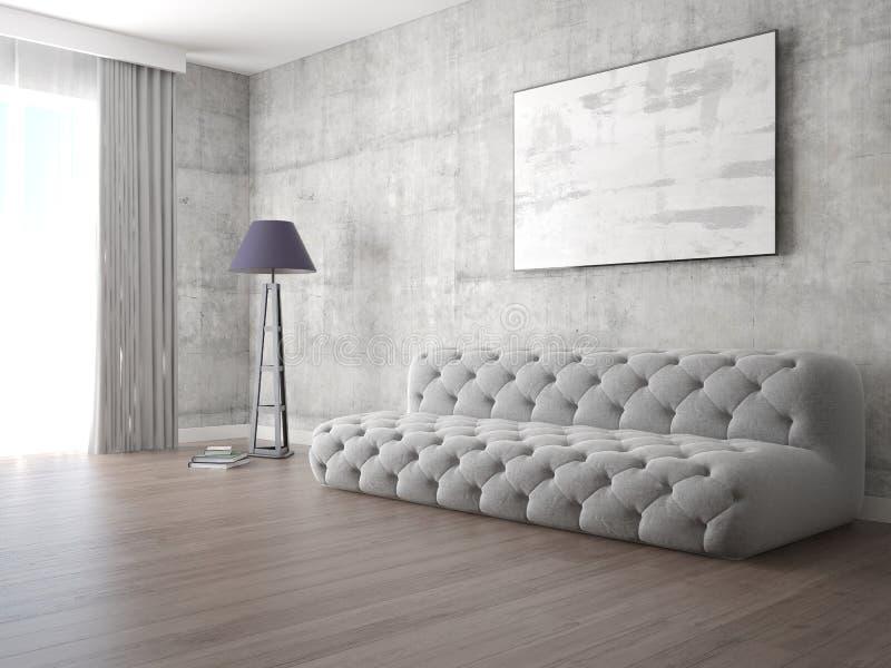 嘲笑有原始的时髦的沙发的明亮的客厅 皇族释放例证