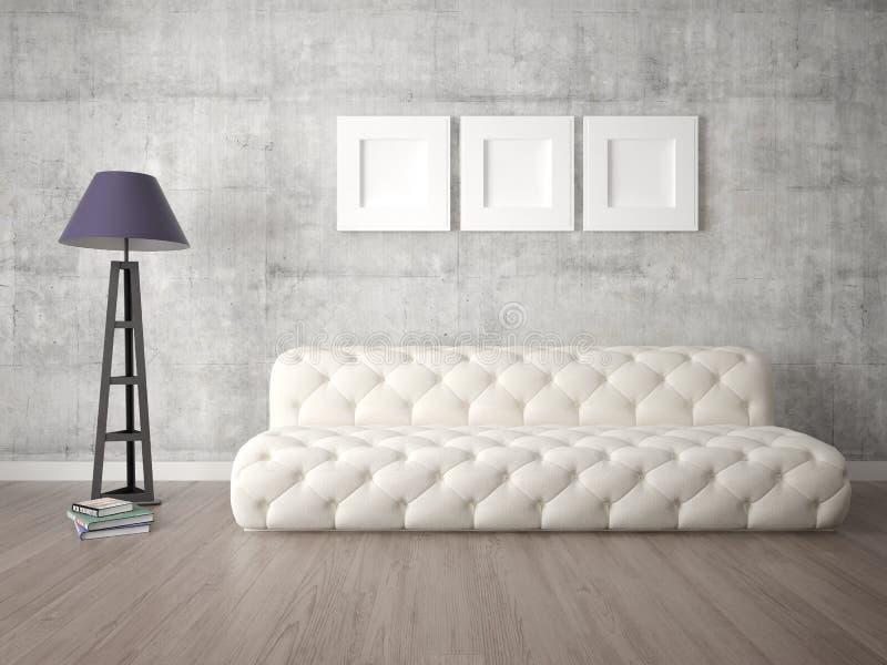 嘲笑有原始的舒适的沙发的时兴的客厅 向量例证