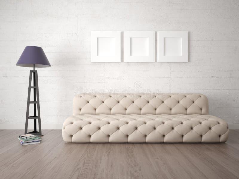 嘲笑有原始的舒适的沙发的现代客厅 库存例证