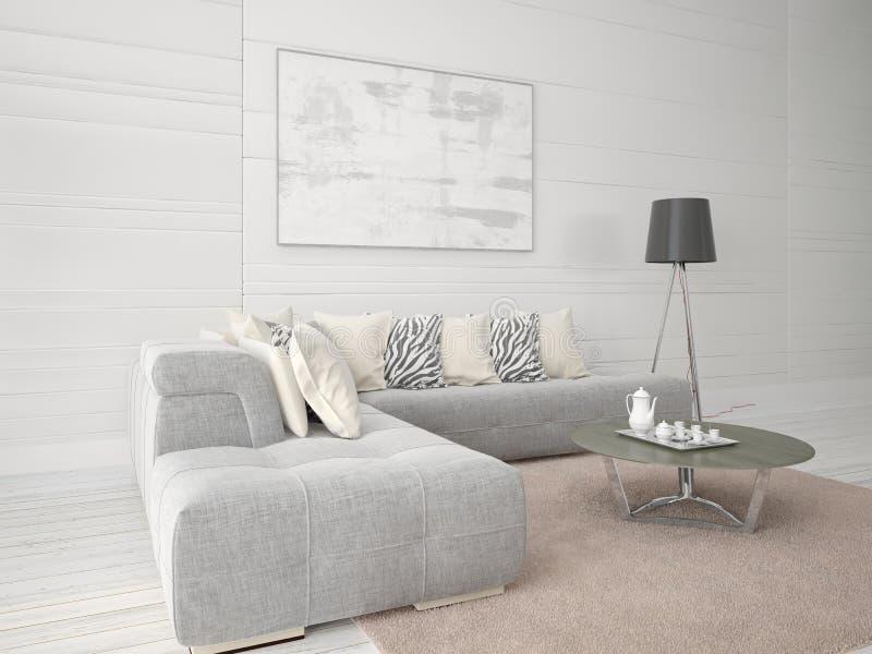 嘲笑有壁角沙发的一个时兴的客厅 向量例证