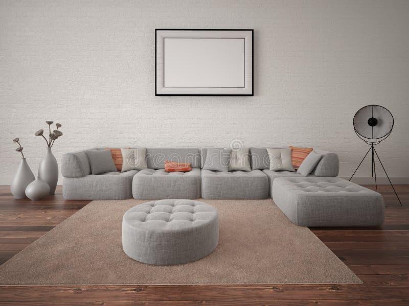 嘲笑有大壁角沙发的现代客厅 皇族释放例证