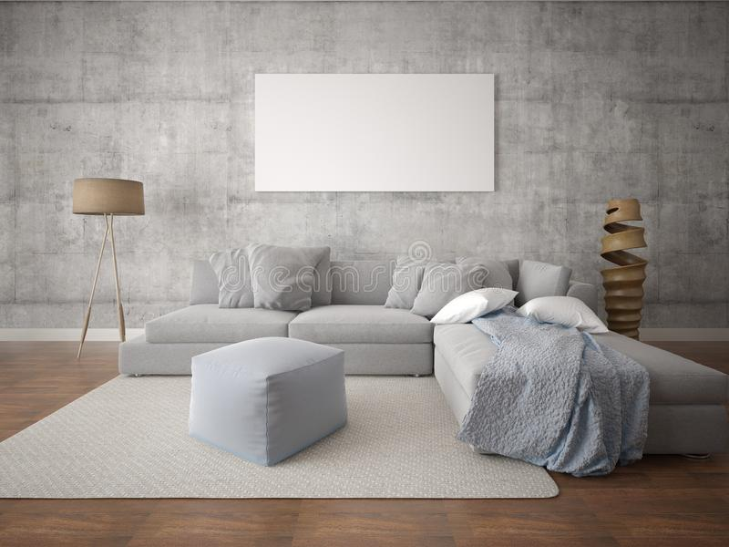 嘲笑有大灰色沙发的现代客厅 库存例证