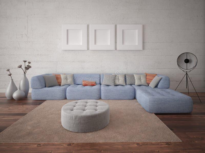 嘲笑有大舒适的沙发的现代客厅 皇族释放例证