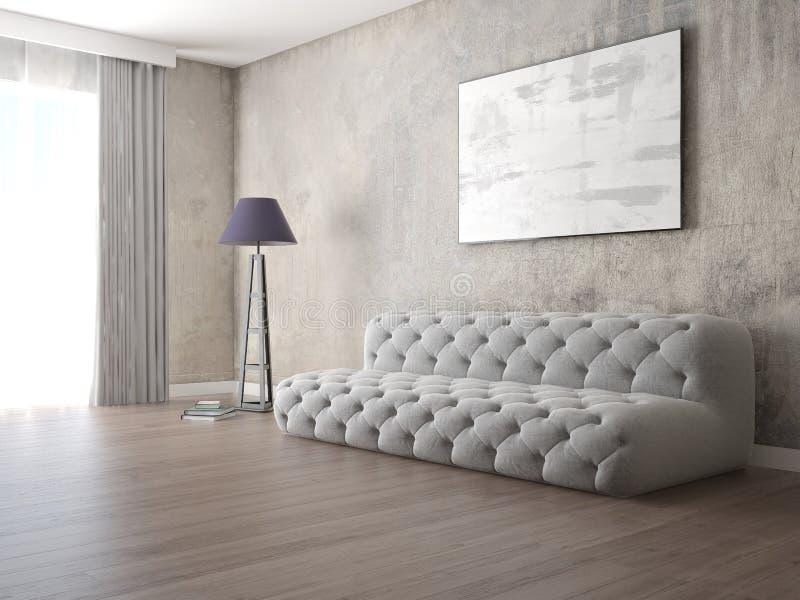 嘲笑有时髦灰色沙发的原始的客厅 库存例证