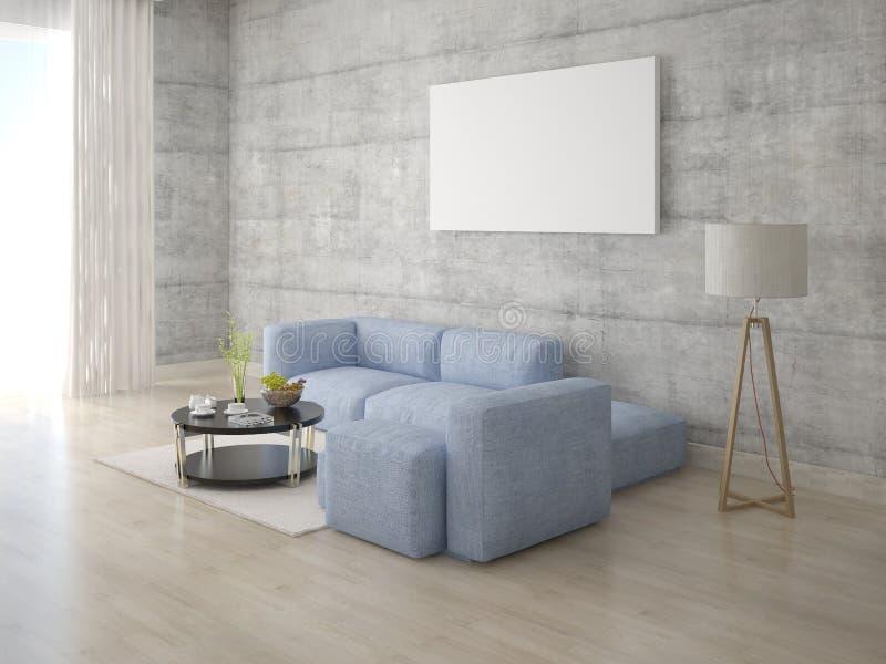 嘲笑有灰色壁角沙发的时髦的休息室 库存例证