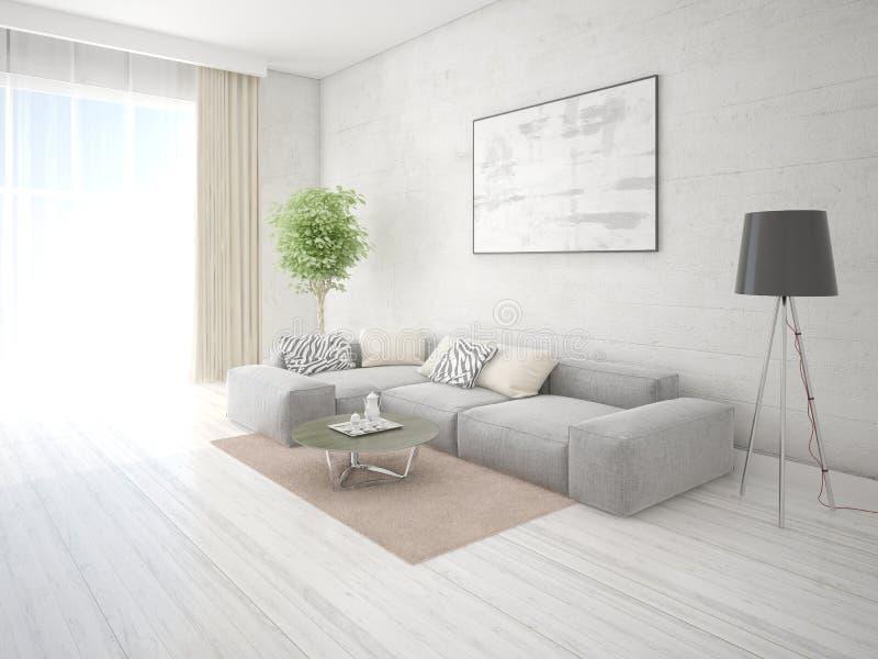 嘲笑有灰色壁角沙发的时髦的休息室 皇族释放例证