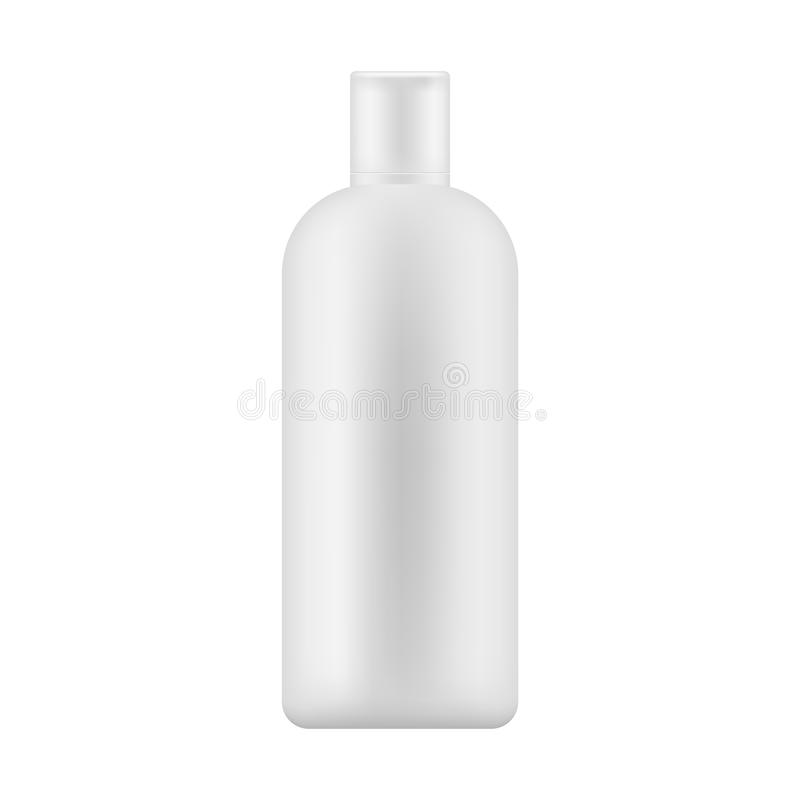 嘲笑有盖帽的白色塑料瓶身体化妆水的,香波,护肤的牛奶 也corel凹道例证向量 向量例证