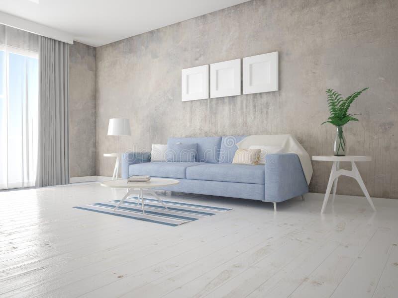 嘲笑有紧凑时髦的沙发的现代客厅 向量例证