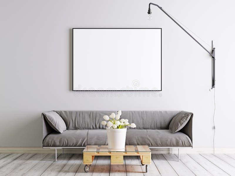 嘲笑框架海报在有织品沙发、灯和植物的斯堪的纳维亚样式客厅桶的白色墙壁背景的 皇族释放例证