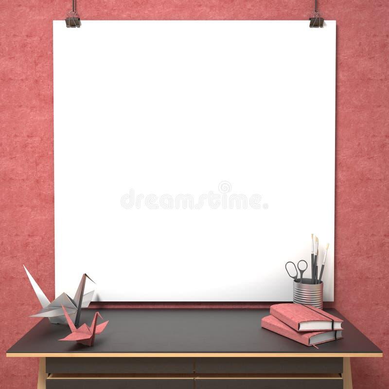 嘲笑海报、木桌和origami起重机, 3D 库存例证
