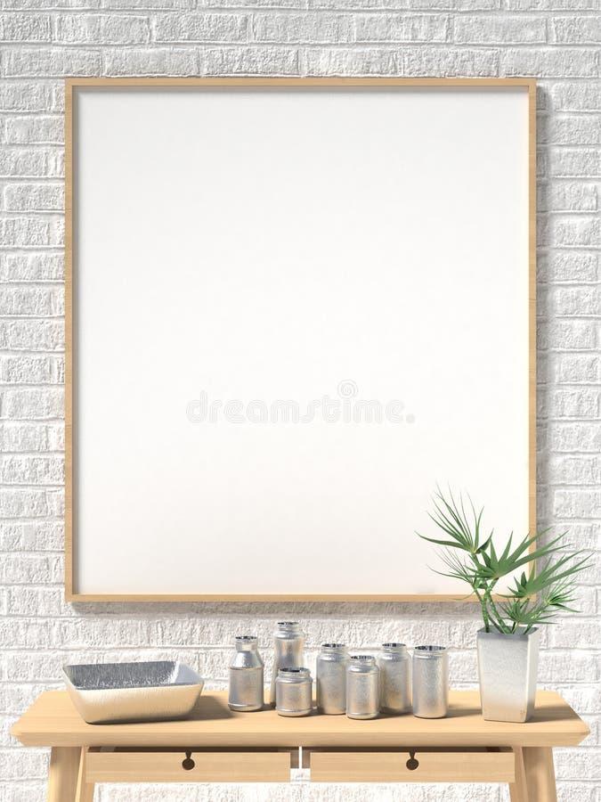 嘲笑海报、白色砖墙和金属杯子 3d 库存例证