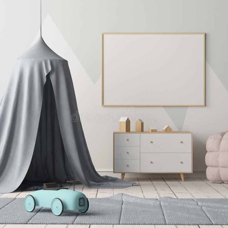 嘲笑海报在有机盖的儿童` s卧室 斯堪的纳维亚样式 3d 库存例证