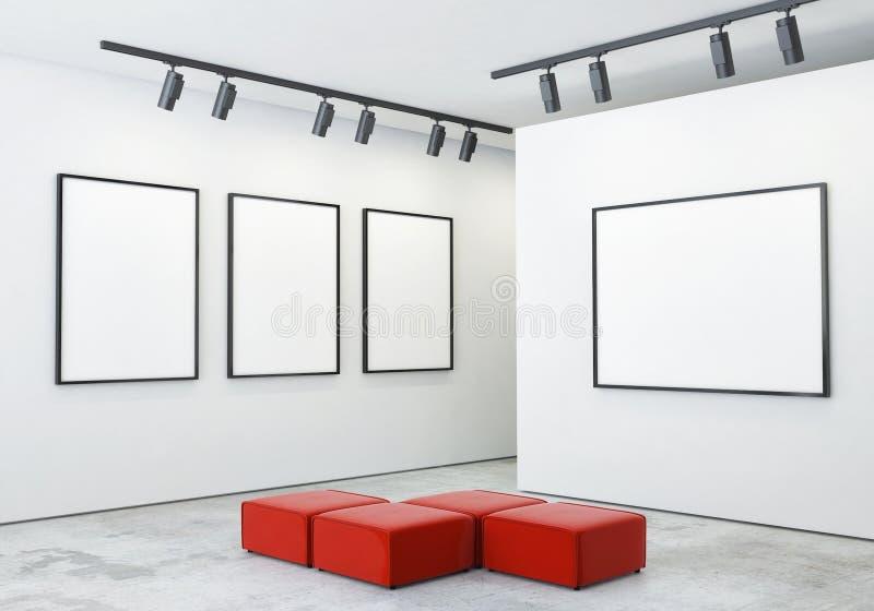 嘲笑海报框架和帆布在画廊内部背景中, 免版税图库摄影