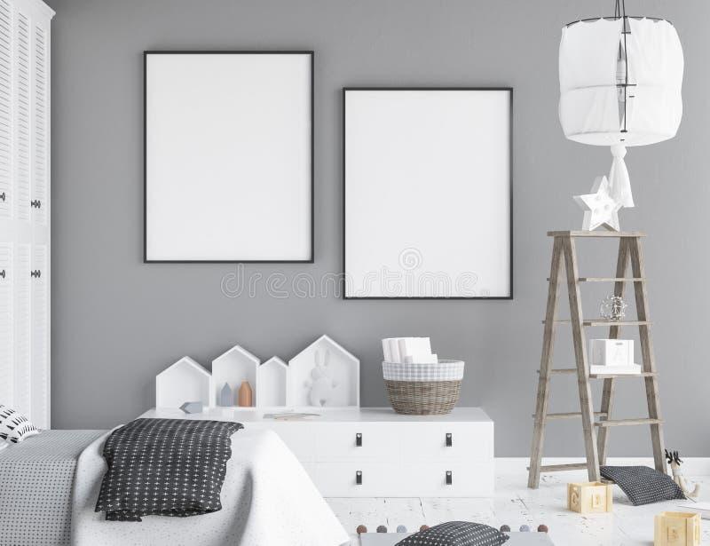 嘲笑海报框架在儿童居室,斯堪的纳维亚样式内部背景 皇族释放例证