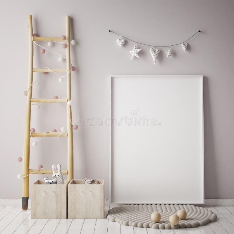 嘲笑海报框架在儿童居室,斯堪的纳维亚样式内部背景, 皇族释放例证