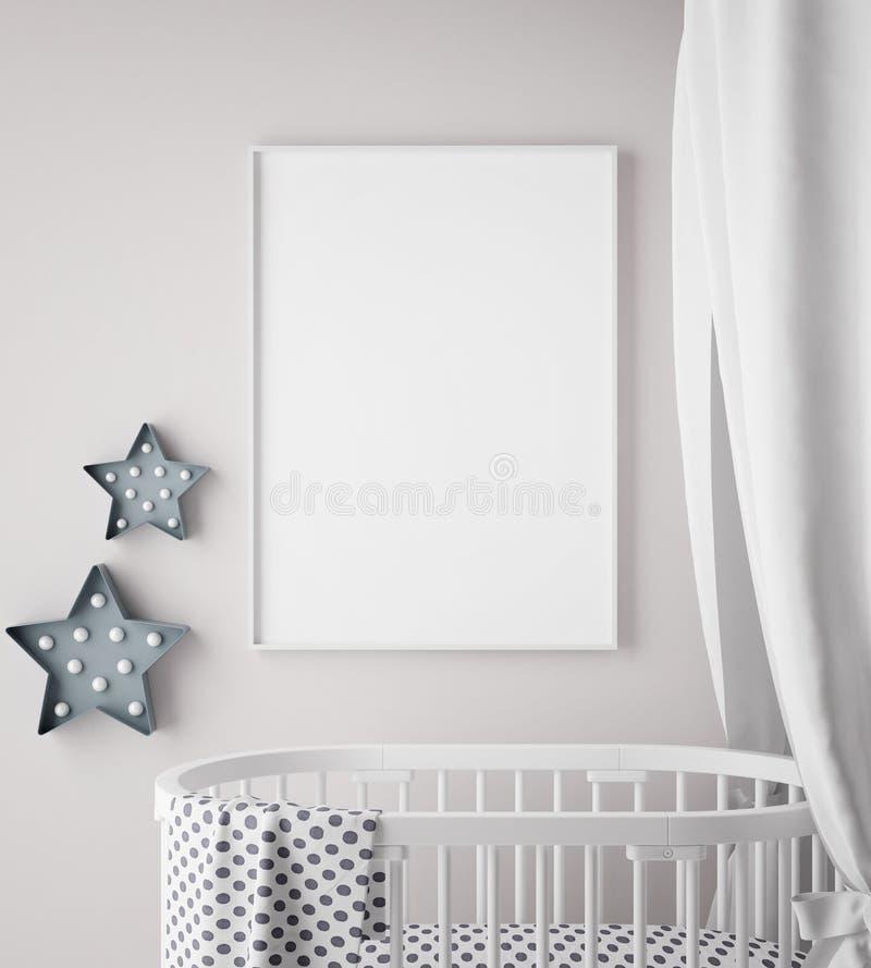 嘲笑海报框架在儿童居室,斯堪的纳维亚样式内部背景, 向量例证