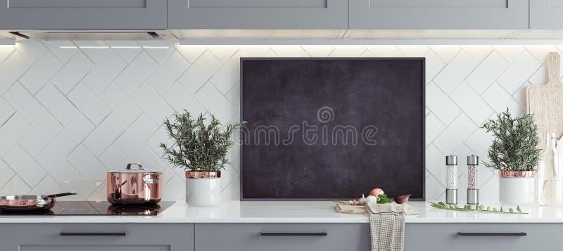 嘲笑海报框架在内部的厨房里,斯堪的纳维亚样式,全景背景 库存图片
