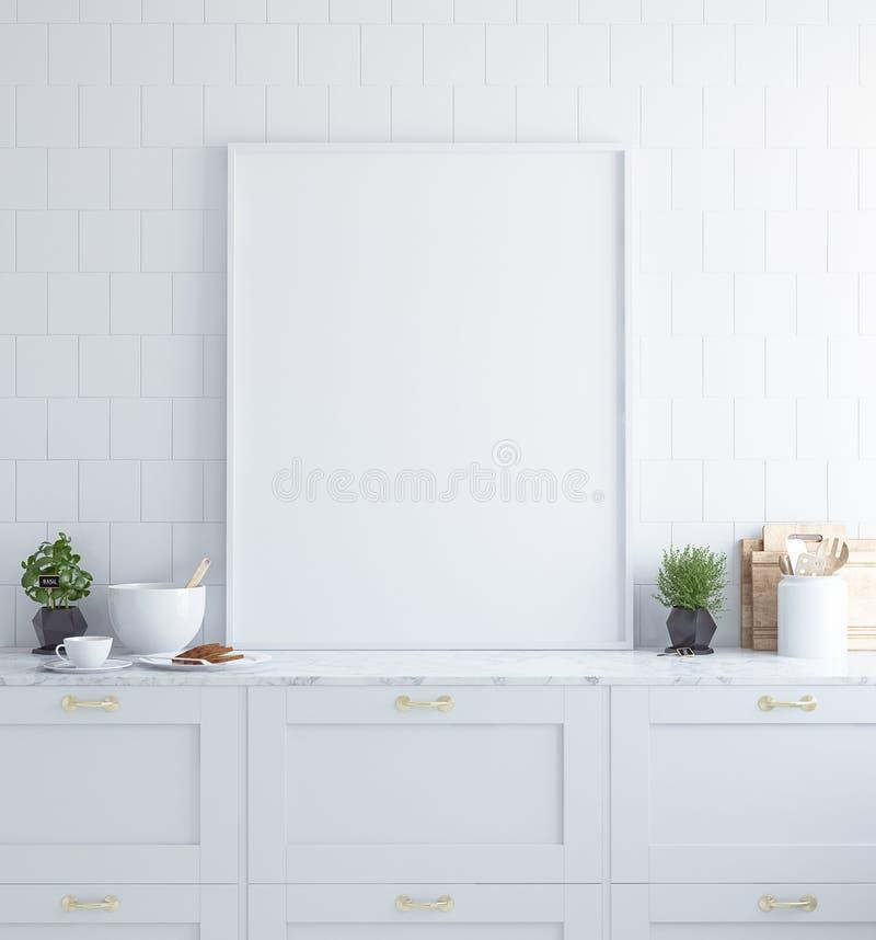 嘲笑海报框架在内部的厨房里,斯堪的纳维亚样式 图库摄影