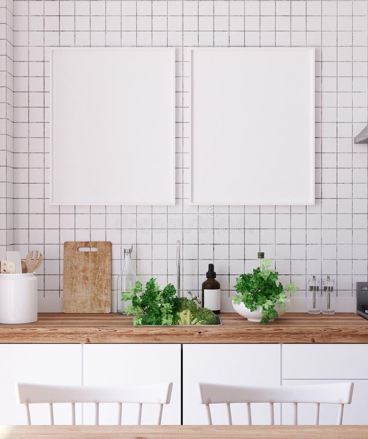 嘲笑海报框架在内部的厨房里,斯堪的纳维亚样式 向量例证