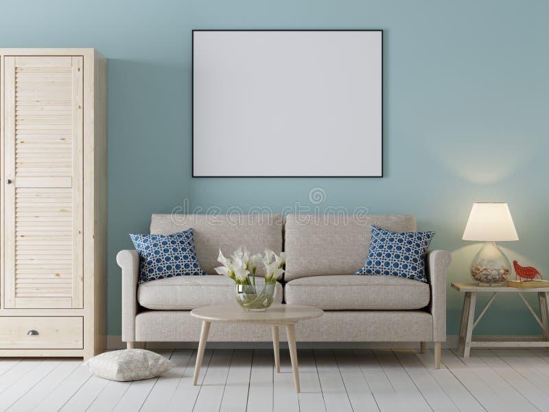 嘲笑海报框架在内部背景中,与沙发的斯堪的纳维亚样式和内阁 库存例证