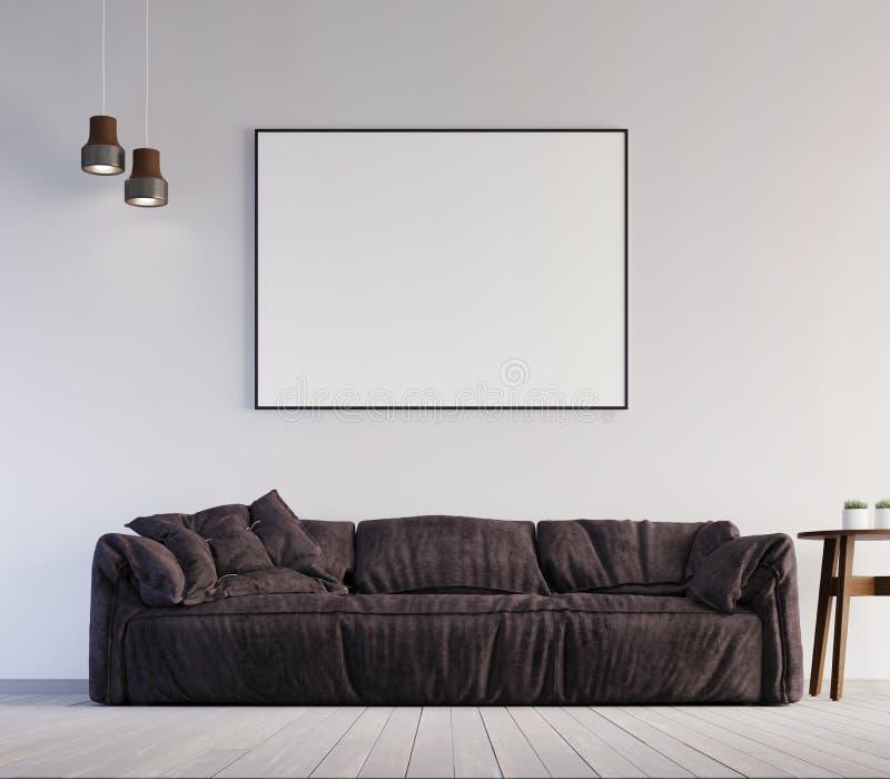 嘲笑海报框架在内部背景,斯堪的纳维亚样式, 3D中回报 向量例证