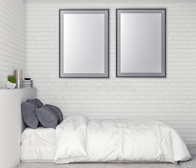 嘲笑海报框架在卧室内部背景和砖墙, 3D中例证 库存例证