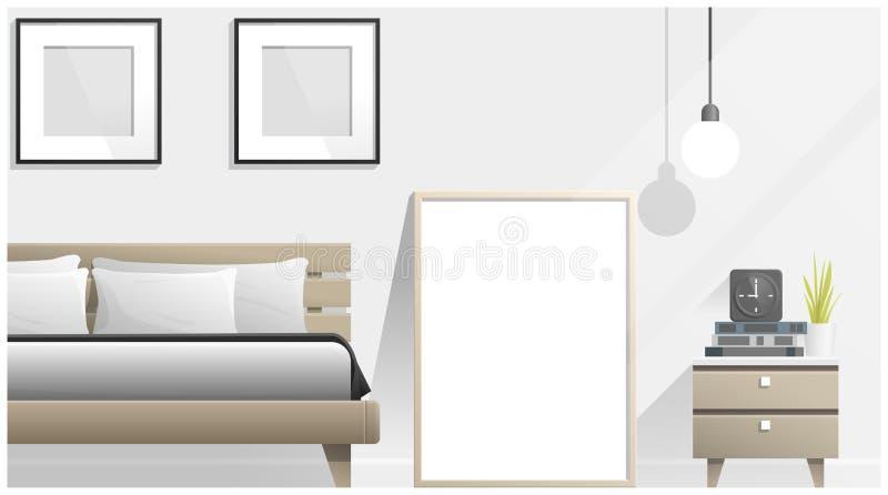 嘲笑海报框架在卧室,内部背景 皇族释放例证