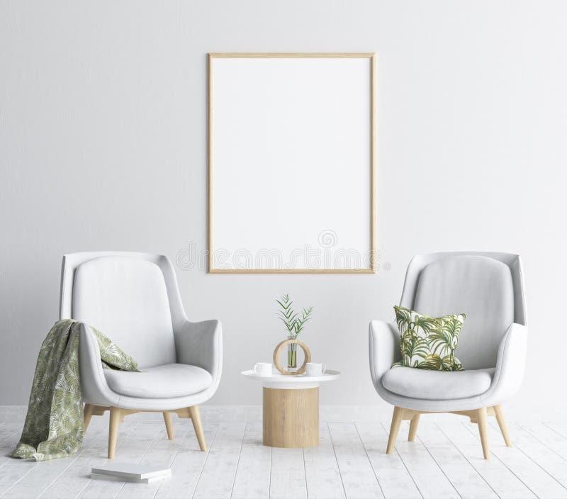嘲笑海报框架在客厅背景,斯堪的纳维亚样式内部中 向量例证