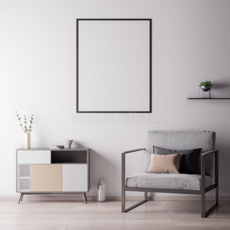 嘲笑海报框架在有白色wal,现代样式的, 3D内部屋子里例证 库存例证