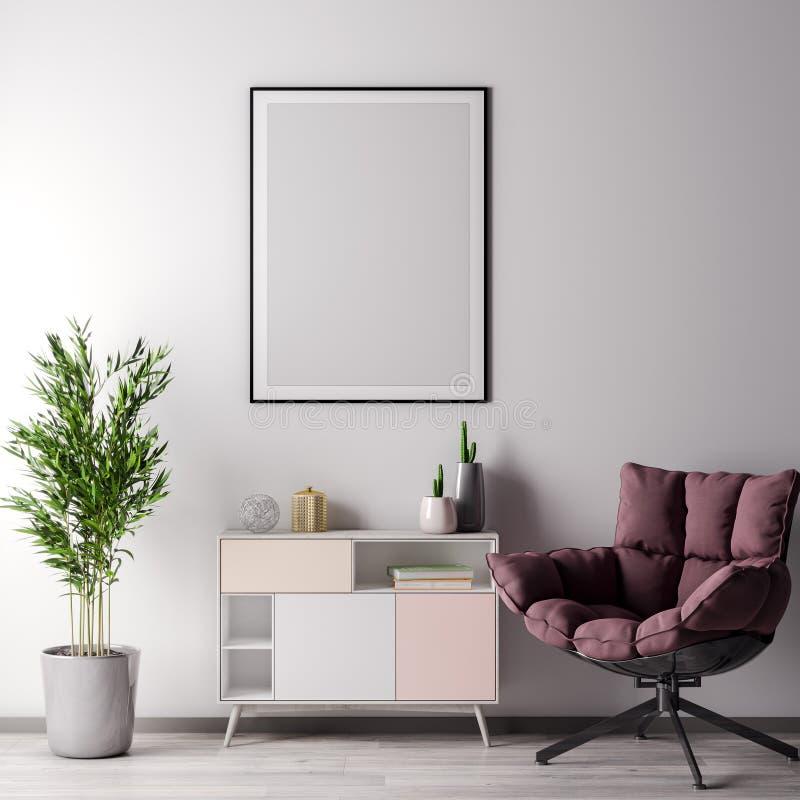 嘲笑海报框架在有白色wal,现代样式的, 3D内部屋子里例证 免版税图库摄影