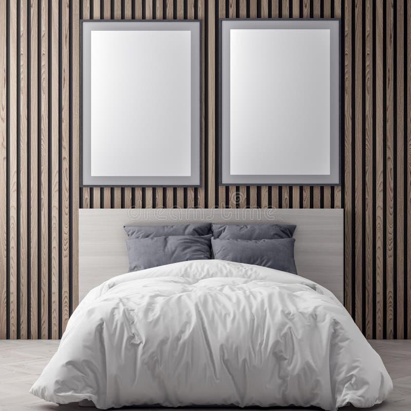 嘲笑海报框架在桃红色颜色和木墙壁板条, 3D的卧室内部背景中例证 皇族释放例证