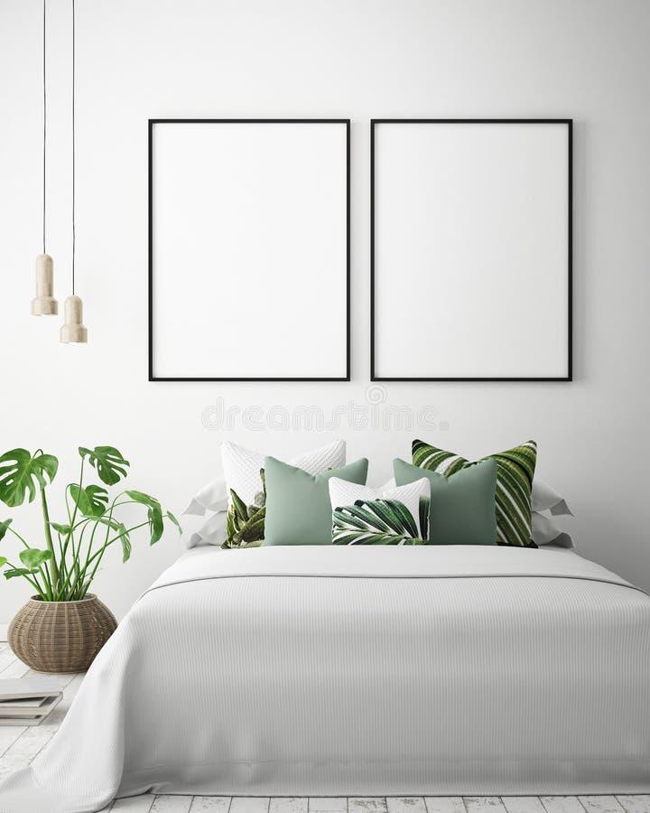 嘲笑海报框架在热带卧室内部背景,现代加勒比样式中 向量例证