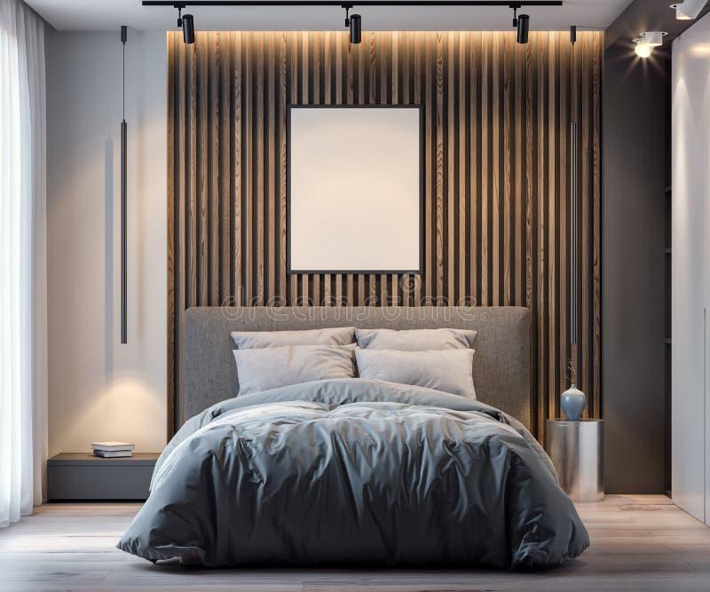 嘲笑海报框架在现代样式, 3D的卧室内部背景中翻译 向量例证