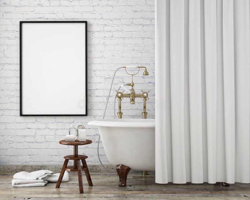 嘲笑海报框架在葡萄酒行家卫生间,内部背景里, 免版税图库摄影