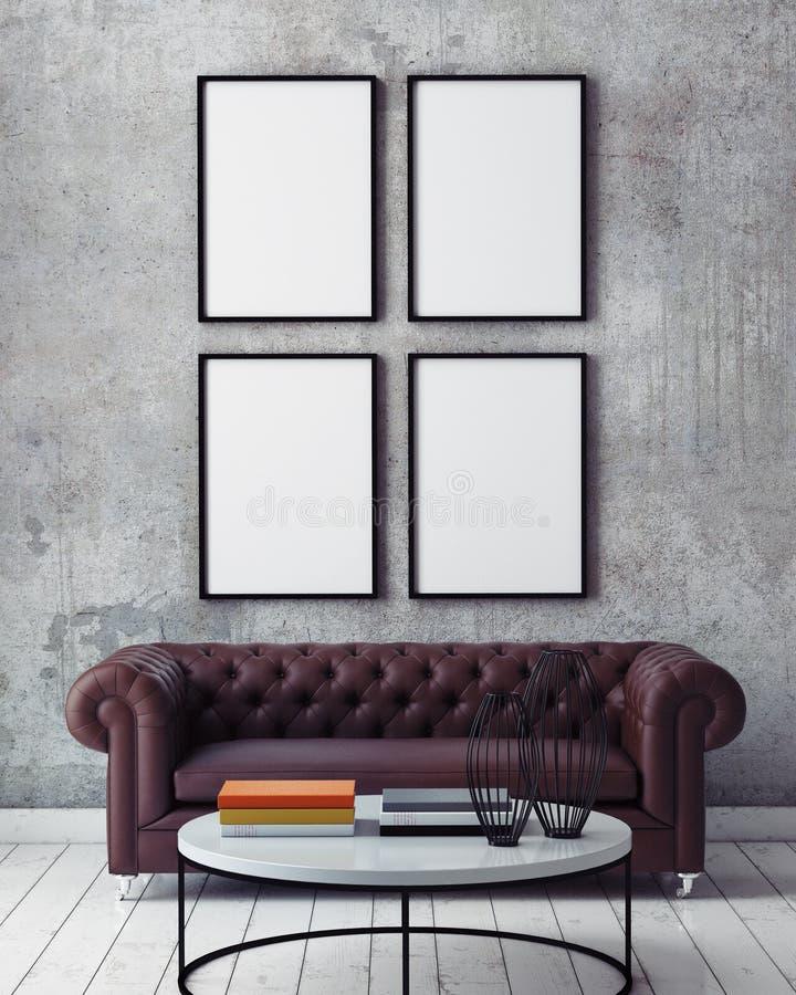嘲笑海报框架在行家内部背景中, 库存图片