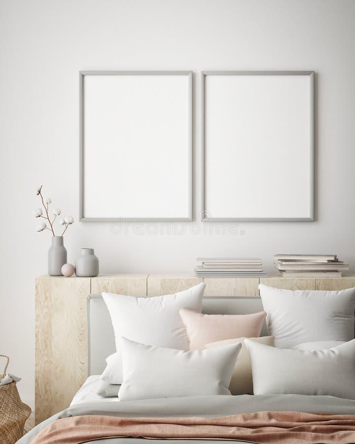 嘲笑海报框架在行家内部背景,卧室,斯堪的纳维亚样式, 3D中回报, 3D例证 库存例证
