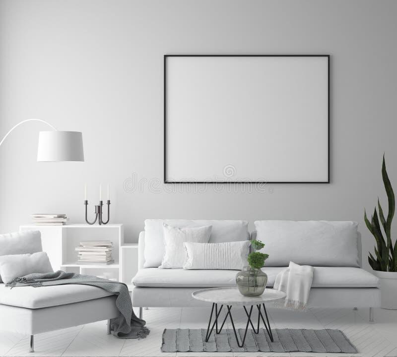 嘲笑海报框架在行家内部背景,客厅,斯堪的纳维亚样式, 3D中回报, 3D例证 向量例证