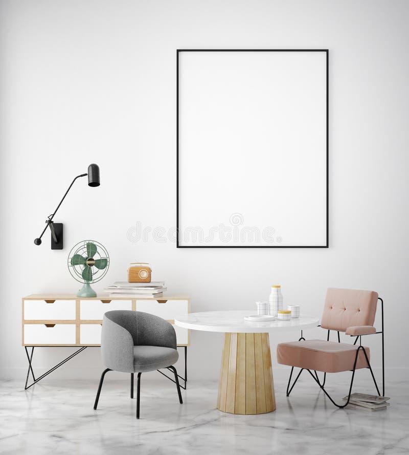 嘲笑海报框架在行家内部背景,斯堪的纳维亚样式中, 库存例证