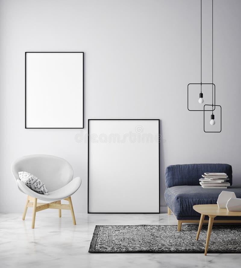 嘲笑海报框架在行家内部背景,斯堪的纳维亚样式中 库存例证